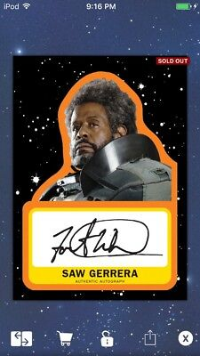 Topps Star Wars Digital Card Trader Black Journey Saw Gerrera Signature Insert
