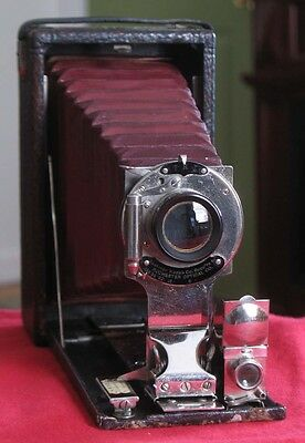 Kodak Successor No. 1 Premo Film Folding Camera with Red Bellows Nickel Trim