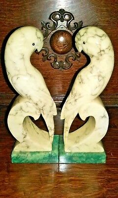 "Pair of Vintage Bookends ~ Parrots 8"" tall ~ Genuine Alabaster Hand Carved Italy"