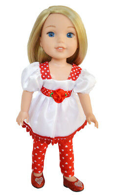 My Brittany's Heart-Roses Outfit for Wellie Wisher Dolls- 14 Inch Doll Clothes