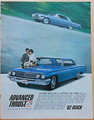 Vintage 1962 magazine ad for Buick - Advanced Thrust, Wildcat 410 V-8, colorful