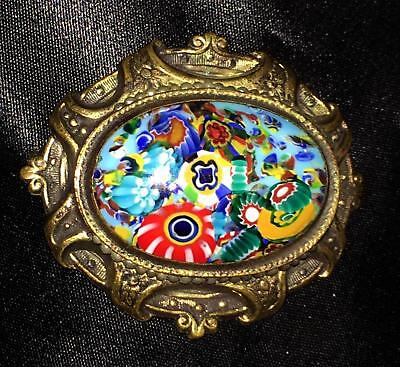 Vtg Milliefiori Glass Ornate Stamped Brass Brooch Pin Victorian Art Nouveau