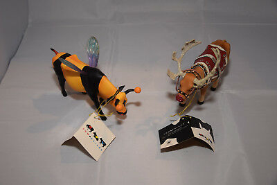 Cow Parade Collectible LOT of 2 Bumble Bee Cow 2001 Retired# 9135 Moodolph Rare