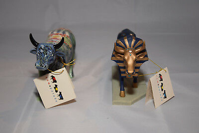 Cows on Parade Lot of 2 Moonet 2000 #9168 Tutancowman Retired 2000 Fast Ship