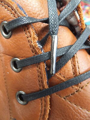 Flat Waxed Cotton METAL TIPPED Shoelaces 6,7 or 8mm Boot Hiking Trainer Shoelace