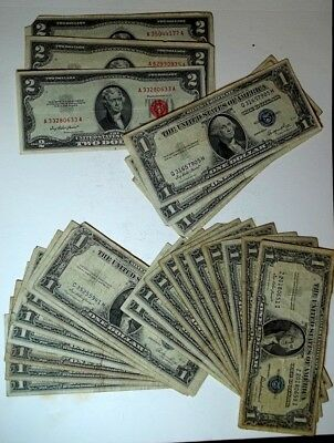 22 Well Circulated One Dollar Silver Certificates and  3 Red Seal 2 dollar Notes