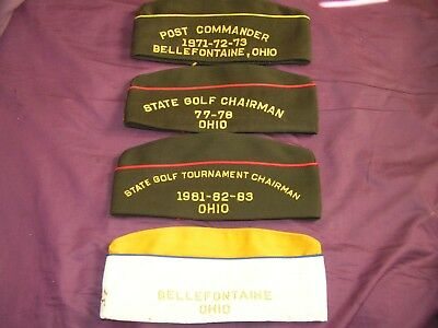 Vintage Junk Drawer Lot Of 4 Vfw Hats Bellefontaine Ohio 1080