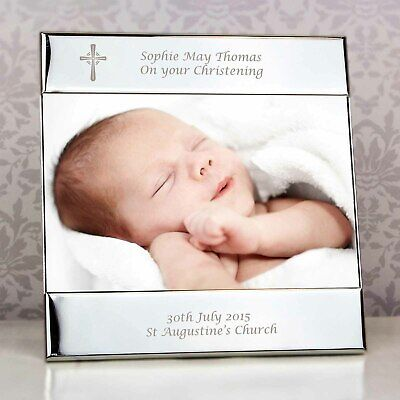 """PERSONALISED Christening Photo Frame. 6""""x4"""" Engraved Picture Frame. Silver Cross"""