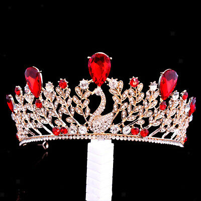Baroque Ruby Crystal Gold Tiara Crown Wedding Headpiece Girl Pageant Costume