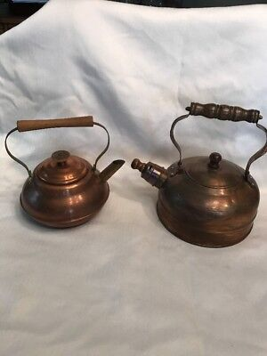 Antique Vintage Pair Of Copper Teapots With Wood Handles, One Whistles