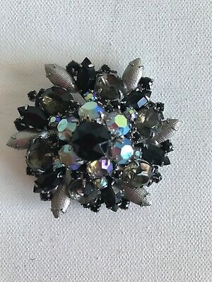 "VTG Stunning Vintage Black Silver Brooch pin  Aurora Boreal Tiered 2-1/2"" wide"