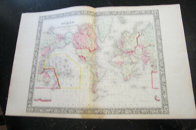 World Map - From Mitchells New General Atlas 1860-1865