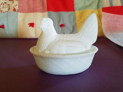vintage milk glass hen on nest
