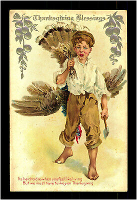 Thanksgiving 1911 Kinder & Truthahn Turquie Präge Litho Relief Postcard