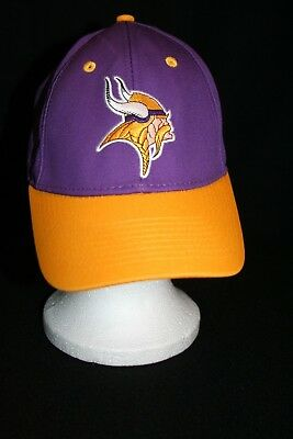 a5511c25a NFL MN Vikings Football Adjustable Cap Hat Embroidered Logo PURPLE/GOLD SKOL !