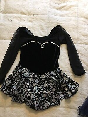 black velvet and sparkle ice skating dress age approx 10 yrs