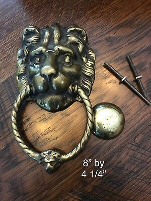 Vintage Solid Brass Door Knocker Lions Head Architectural Reclaim Old