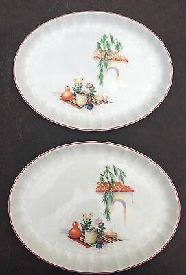 """W. S. George Bolero Gracia 1950's Mexican 11 3/4"""" Serving Platters Set of Two"""