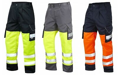 Leo Safety Protective Two Tone Hi Vis Work Cargo Combat Class 1 Trousers Pants
