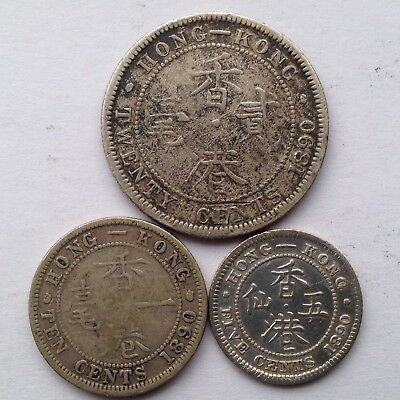 A set of 3 Hong Kong 5 cents, 10 cents, 20 cents silver coins, issued in 1890