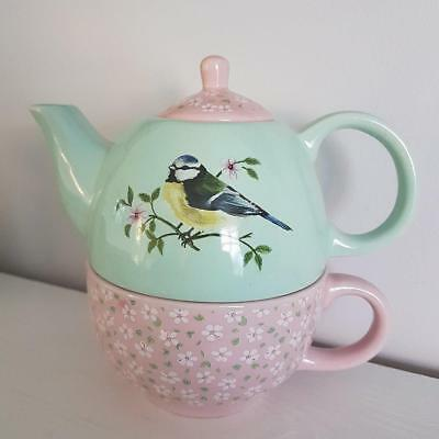 Garden Birds and Floral Chic n Shabby Pink and Green Teapot For One