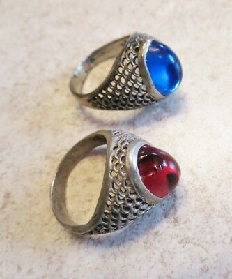 Old Persian silver filigree rings, TWO Unisex rings, Size 8.5 & 9