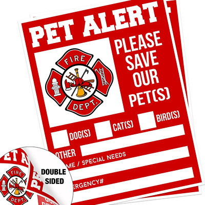"Pet Alert Fire Rescue Sticker - 5""x 4"" Double Sided (2 Pack)"