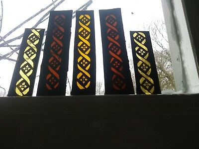 Stained Glass x 5 - Border pieces, vintage design. Hand painted kiln fired.