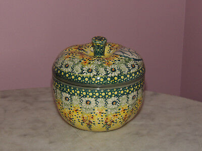 Genuine UNIKAT Polish Pottery Lidded Apple Baker! Miss Daisy Pattern!