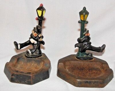 Vtg Pair Collectible Cast Iron Figural Bar Ashtray Drunk Man Holding Lamp Post