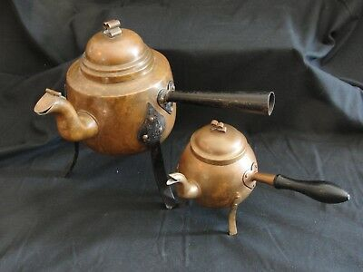 2 Vintage Hammered Copper Swedish Hearth Kettles Cast Iron Arts and Crafts