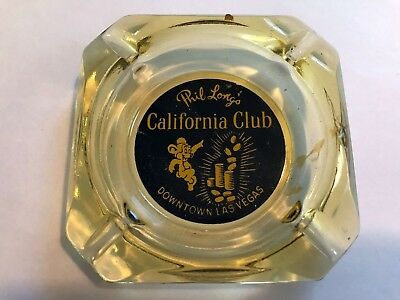 3 RARE 1960'S Vintage Las Vegas  Glass Ashtrays (California Club, Nugget (x2))