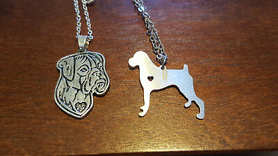 Boxer breed dog lovers pet pendant necklace set metal silhouette cut out