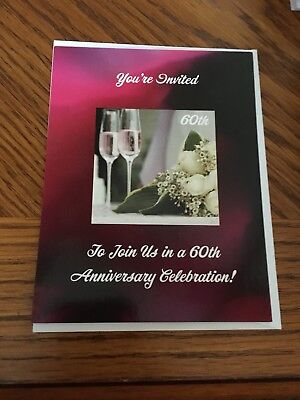 60Th Wedding Anniversary Party Invitations Lot Of 84 New With Envelopes