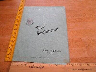 1940s The House of Biltmore Vancouver Canada restaurant menu VINTAGE