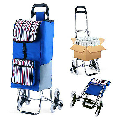 Folding Grocery Shopping Cart Rolling Laundry Bag Trolley Tote Basket Wheels