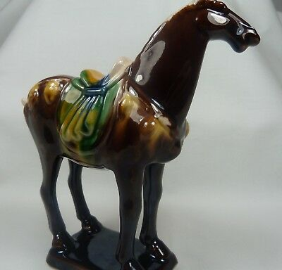 TANG WAR HORSE - Numbered Ceramic Sculpture - Chesnut Teal Gold Blue Multi-Color