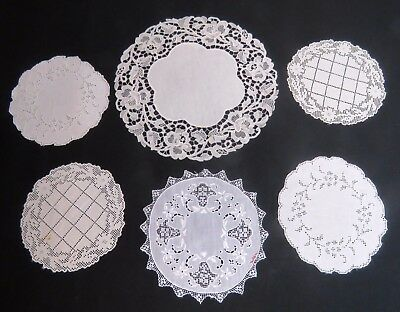 Vintage Doily Coasters Linen Whitework Embroidered Filet lace Antique Table Mat