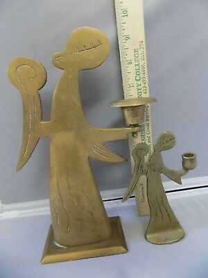 "Lot of (2) Brass Angel Candle Holders One about 9"" and one about 5"" Tall"
