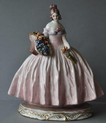 Great Capodimonte Cacciapuoti Porcelain Lady Figurine holding a Flower Basket