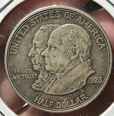 1923-S Monroe-Adams Commerative Silver Half Dollar. Nice Coin For Your Set.
