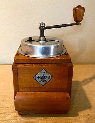 "Large Antique Art Deco Dutch ""Gewaadborge"" ""ROCK HARD"" Coffee Grinder Mill"