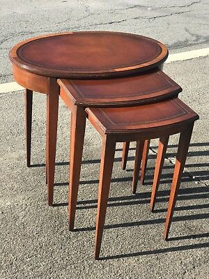 Vintage Set 3 Mahogany Nesting Tables Inlayed nice conditioon WILL SHIP!!