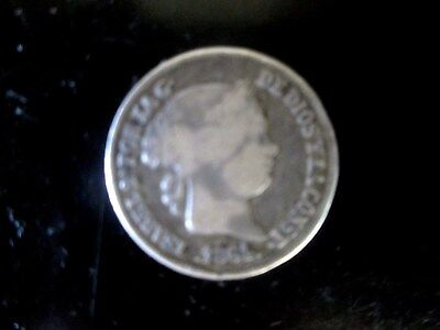 1864 Espana (Spain) Philippine 20 Centimos Isabel Ii Rare Very Rare Silver Coin