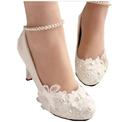 YIERFA Wedding shoes for women new design ivory lace high heels flowers pearls a