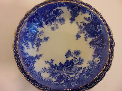 Antique 1900s WEDGWOOD - COREA -  Flow Blue 5 Berry Bowls Gold Detailing