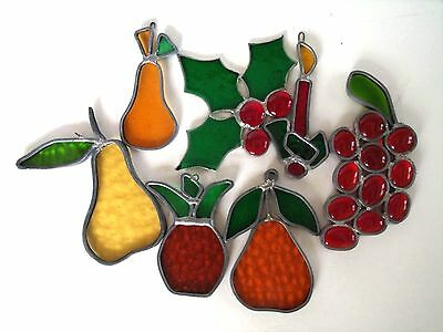 Vintage Leaded Glass Sun Catchers Lead Art Glass-Pear-Pineapple-Grapes-Holly (7)