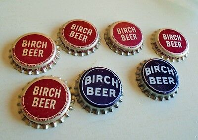 Collection 7 Rare Vintage Unused Soda Bottle Caps Birch Beer Seven Up 7Up