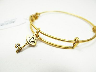 ALEX and ANI Russian Gold Tone Skeleton Key  Bracelet with Charms
