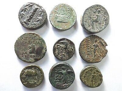 Lot of 9 Higher Quality Ancient Greek Coins; Horse, Athena, Sickle.; 55.8 Grams!